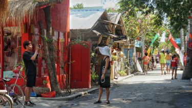 A usually busy street on Gili Air, one of the three tiny Gili islands to the north of Lombok.