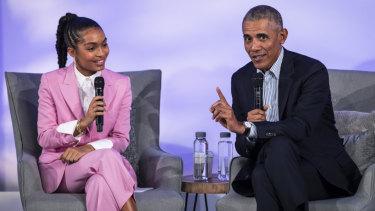Barack Obama speaks with actress, model and activist Yara Shahidi.
