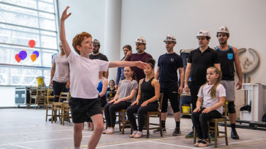 Jamie Rogers rehearsing with the cast of Billy Elliot.