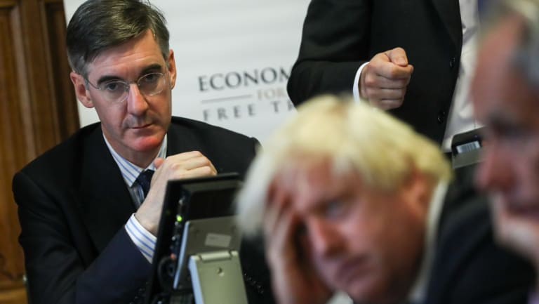 Jacob Rees-Mogg, Conservative MP, and Boris Johnson, former foreign secretary.