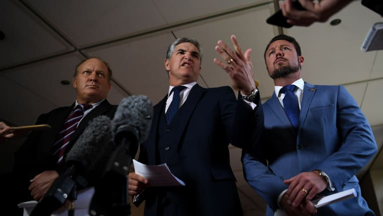 Robbie Katter (centre, with fellow KAP MPs Shane Knuth and Nick Dametto) says he has referred Premier Annastacia Palaszczuk to the CCC.