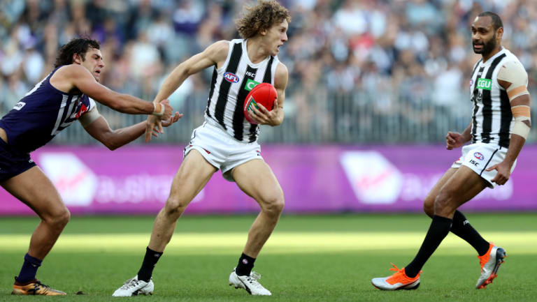 Chris Mayne (centre) in action in the Pies' round 23 win over Fremantle.