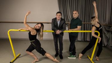 Brett Clegg with artistic director Rafael Bonachela and dancers Arriella Casu and Chloe Leong.
