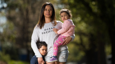 The system doesn't encourage mothers to return to work, says Valerie Jackson with Talia, 3, and Chloe, 2.
