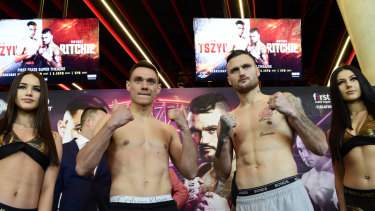 Tim Tszyu and Dwight Ritchie look evenly matched ahead of their super-middleweight showdown.