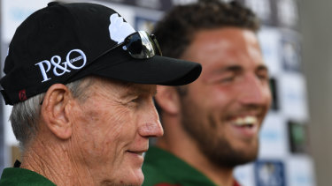 Big Bunnies: Wayne Bennett and Sam Burgess share a laugh in December.