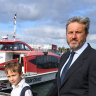 Matt Egerton-Warburton, pictured with son Bede, is a regular commuter on the Lane Cove ferry service.