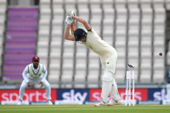 England's Dom Sibley is bowled by West Indies' Shannon Gabriel on day one of the first Test.