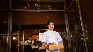 Take it away: Lekker head chef Rob Kabboord, Sunda head chef Khanh Nguyen and the Windsor Hotel's head pastry chef Anna Polly Trinh.