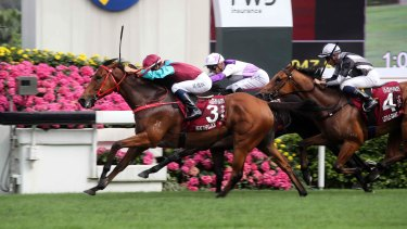Hometown win: Beat The Clock takes out the Chairman's Sprint Prize at Sha Tin on Sunday