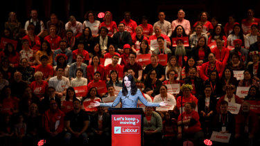 Jacinda Ardern at her Labour Party election campaign launch on August 8, before the country's latest COVID-19 outbreak.