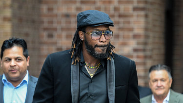 Chris Gayle during his defamation case in Sydney in 2017.