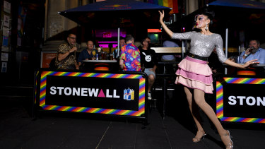 Drag performer Lada Marks outside the iconic Stonewall Hotel on Oxford Street, Sydney.
