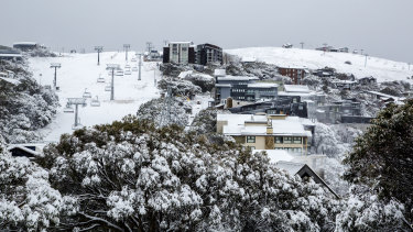 Snow blankets Mt Buller on Thursday after a cold snap hit Victoria.