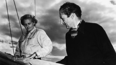 Daphne du Maurier with her husband Frederick Browning on board his yacht Jeanne D'Arc in August 1952.