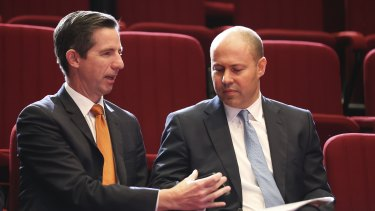 Finance Minister Simon Birmingham, with Treasurer Josh Frydenberg, says the government is expecting the private sector to underpin the economy.