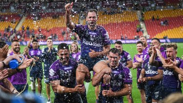 Cameron Smith is chaired from the field at Suncorp Stadium on Friday night. But was it for the last time?