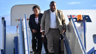 Papua New Guinea's Prime Minister James Marape and wife Rachel Marape arrive at Fairbairn Airbase in Canberra on Sunday, July 21, 2019.