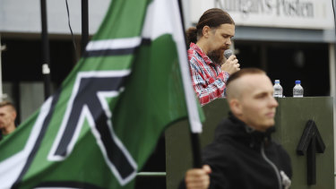 Fredrik Vejdeland of the Swedish neo-Nazi Nordic Resistance Movement (NMR) speaks during an election rally in Kungalv, Sweden, on Saturday.