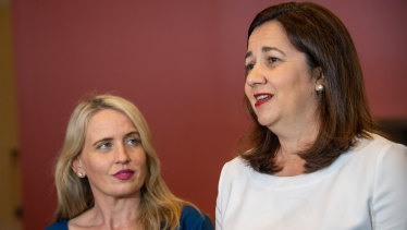 Queensland Premier Annastacia Palaszczuk speaks to the media alongside Tourism Minister Kate Jones about the need to revamp Australia's future skills training system.