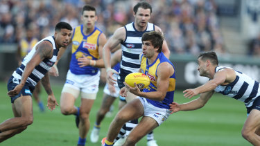 Out-manned: Geelong put Eagle Andrew Gaff under pressure from all sides.