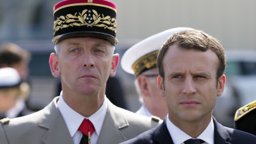 French President Emmanuel Macron, right, and French armed forces chief of staff Francois Lecointre in 2017.