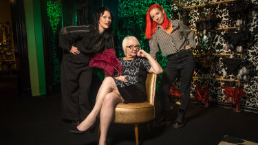 Adult movie star and director Morgana Muses (seated), with Isabel Peppard and Josie Hess, co-directors of the documentary about her life, at Passionfruit Sensuality Shop.