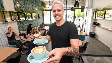 Fraser Chalmers, Fed Cafe owner, has adopted a cafe in Mallacoota.