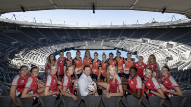 First glance: NSW Swifts and Giants Netball players check out the soon-to-be-refurbished Olympic Park Tennis Centre with state sports minister Stuart Ayres.