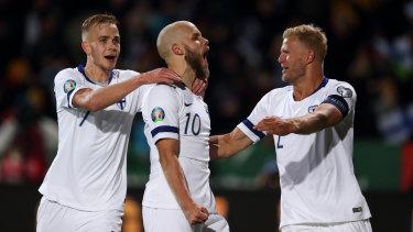 Sick one: Teemu Pukki celebrates a goal as Finland qualify for Euro 2020.