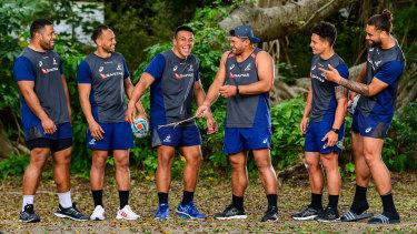 The Wallabies Samoan contingent; Scott Sio, Christian Lealiifano, Allan Alaalatoa, Jordan Uelese, Matt Toomua and Lukhan Salakaia-Loto.