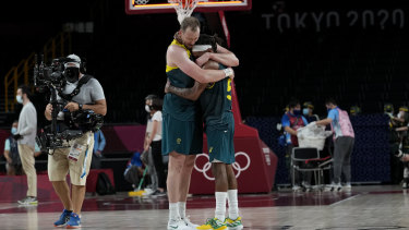 Patty Mills and Joe Ingles after winning the men's basketball bronze medal.