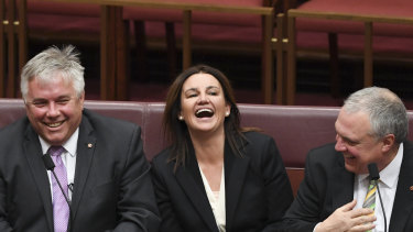 Centre Alliance senator Rex Patrick, independent senator Jacqui Lambie and Centre Alliance senator Stirling Griff.
