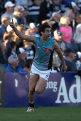 Domonic Cassisi celebrates kicking the winning goal.