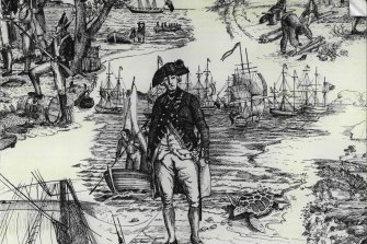 Governor Phillip landing at Botany Bay, the ships of the First Fleet behind him.