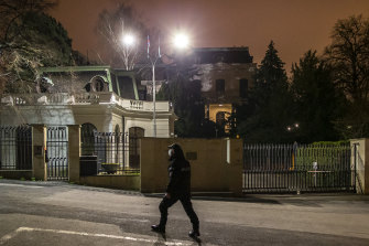 A policeman watches in front of The Russian Federation embassy building on April 17, 2021 in Prague, Czech Republic.