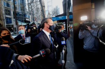 Former Opposition Leader Michael O'Brien arrives for a LIberal Party leadership spill