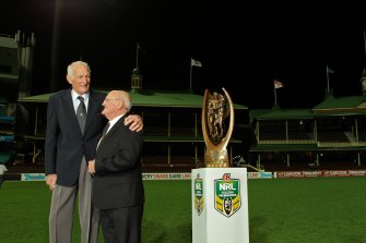 Norm Provan and Arthur Summons with the NRL trophy.