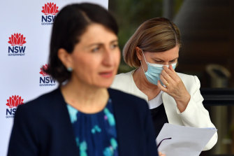 Premier Gladys Berejiklian (left) and Chief Health Officer Kerry Chant at the Saturday press conference.