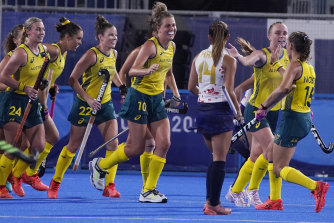 Australia's Maddy Fitzpatrick celebrates her goal in the win over Japan.