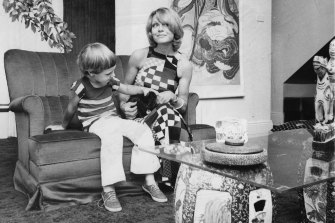 Carla Zampatti at home in the 70s with her young son Alex.