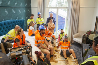 The contestants of The Block gather to hear an update on COVID-19 from the Prime Minister.