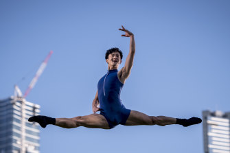 Chengwu Guo, the subject of the documentary Chen, aspires to weightlessness in Melbourne's Southbank.