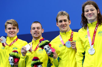 Silver medallists Timothy Hodge, Timothy Disken, William Martin and Ben Popham.