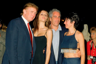 Donald Trump, his wife-to-be, Melania Knauss, with Jeffrey Epstein and Ghislaine Maxwell in Florida in 2000.