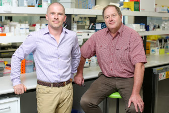 Professor Ian Alexander, right, and Dr Leszek Lisowski from the Children's Medical Research Institute. The researchers have welcomed a funding boost that will allow them to produce enough vectors for clinical trials.