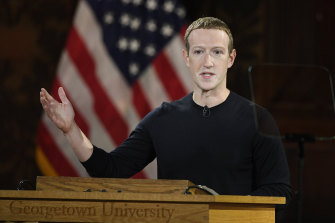 Facebook CEO Mark Zuckerberg speaks at Georgetown University on Thursday, US time.