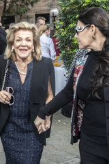 Ros and Gretel Packer at Martyn Cook's memorial service in Darlinghurst on Thursday.