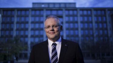 Treasurer Scott Morrison outside the Treasury building in Canberra.