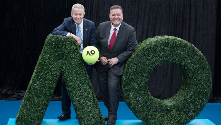 Tournament director Craig Tiley  and Minister for Sport, Tourism and Major Events John Eren.